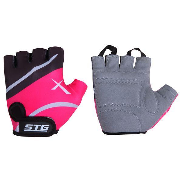 Перчатки велосипедные STG, летние, быстросъемные, цвет: розовый, черный, серый. Размер L. Х61872