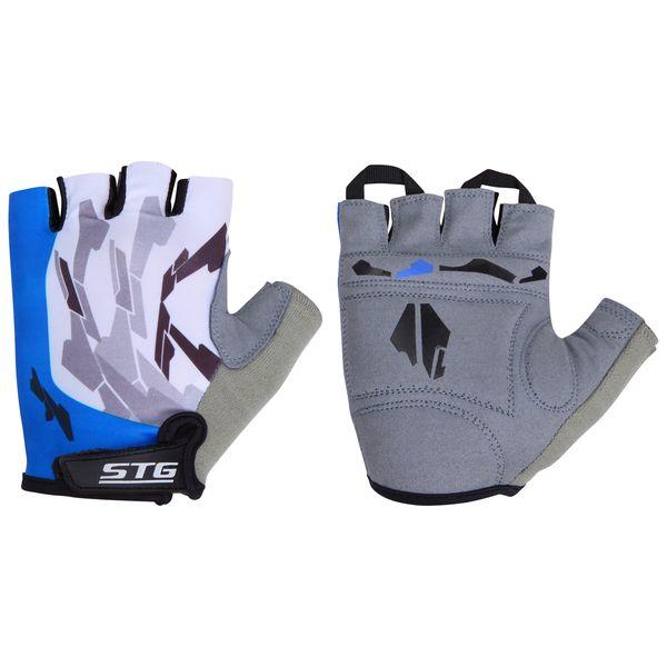 Перчатки велосипедные STG, летние, быстросъемные, цвет: синий, серый, черный. Размер L. Х61877