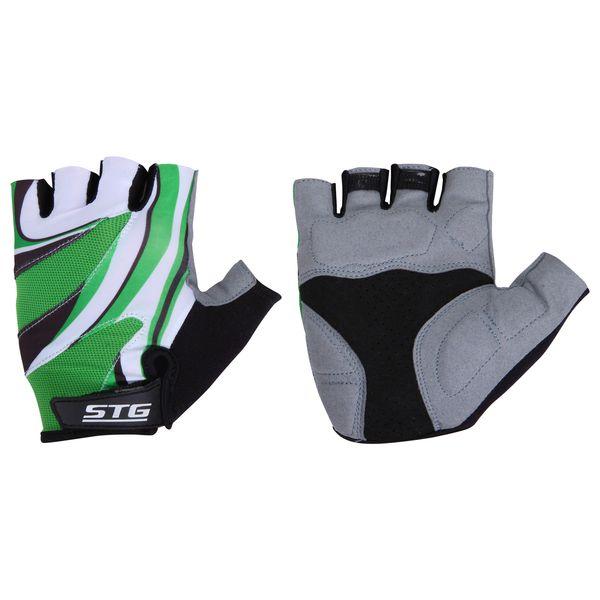 Перчатки велосипедные STG, летние, с дышащей системой вентиляции, цвет: зеленый, серый, черный. Размер L. Х61887