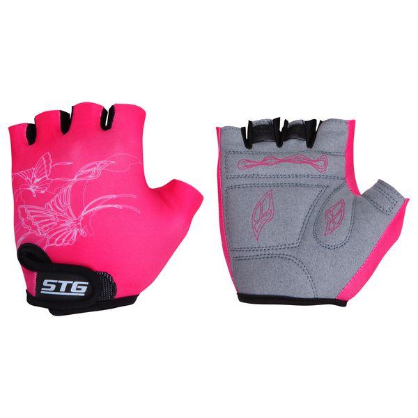Перчатки велосипедные STG, детские, летние, быстросъемные, цвет: розовый. Размер M улитка wonny zx 090 велосипедные перчатки антискользящие шок летние дышащие перчатки перчатки перчатки синий m