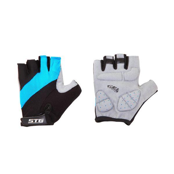 Перчатки велосипедные STG летние, цвет: голубой, черный, серый. Размер M. Х66457 улитка wonny zx 090 велосипедные перчатки антискользящие шок летние дышащие перчатки перчатки перчатки синий m