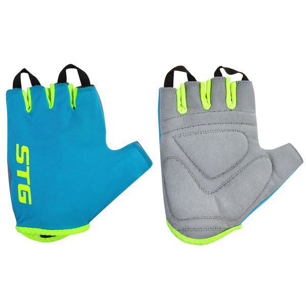 Перчатки велосипедные STG AL-03-418, летние, цвет: голубой, салатовый. Размер L. Х74366 перчатки велосипедные stg al 03 325 летние цвет оранжевый черный размер xl х74365