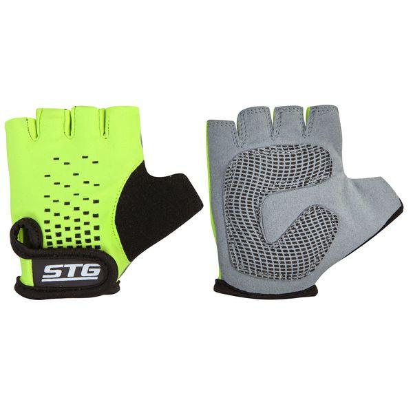 Перчатки детские велосипедные STG AL-03-511, летние, цвет: зеленый, черный. Размер M. Х74367