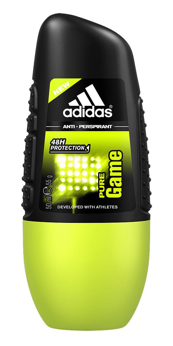 Adidas Дезодорант-антиперспирант ролик Pure Game Anti-Perspirant Roll-On, мужской, 50 мл дезодорант антиперспирант adidas pure game 50 мл древесный 31535302000
