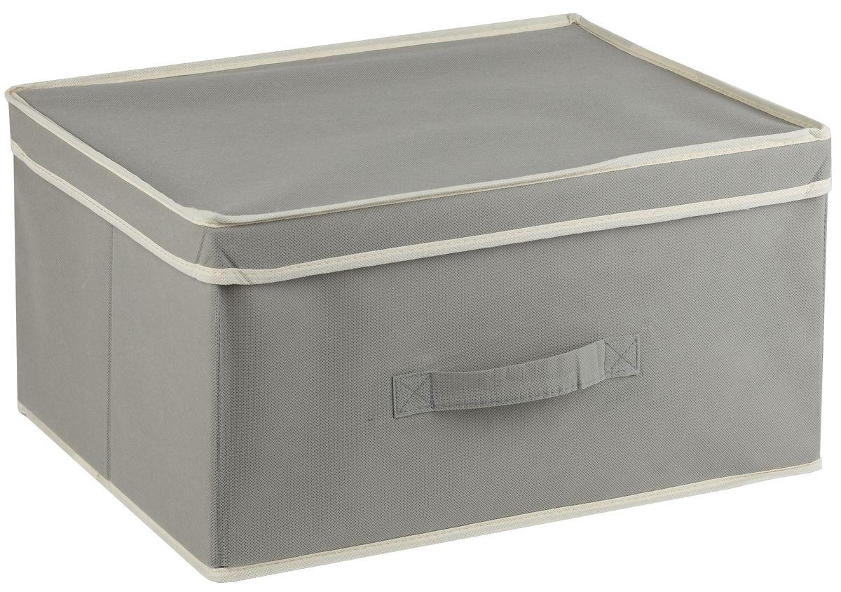 Короб для хранения White Fox Standart, с крышкой, цвет: серый, 43 х 33 х 22 см цена