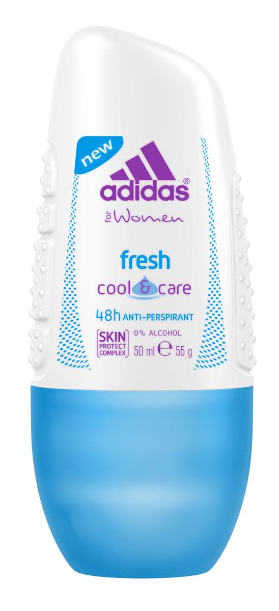 Adidas Дезодорант-антиперспирант ролик Cool&Care Fresh Anti-Perspirant Roll-On, женский, 50 мл антиперспирант спрей adidas anti perspirant spray male cd sport energy 150 мл