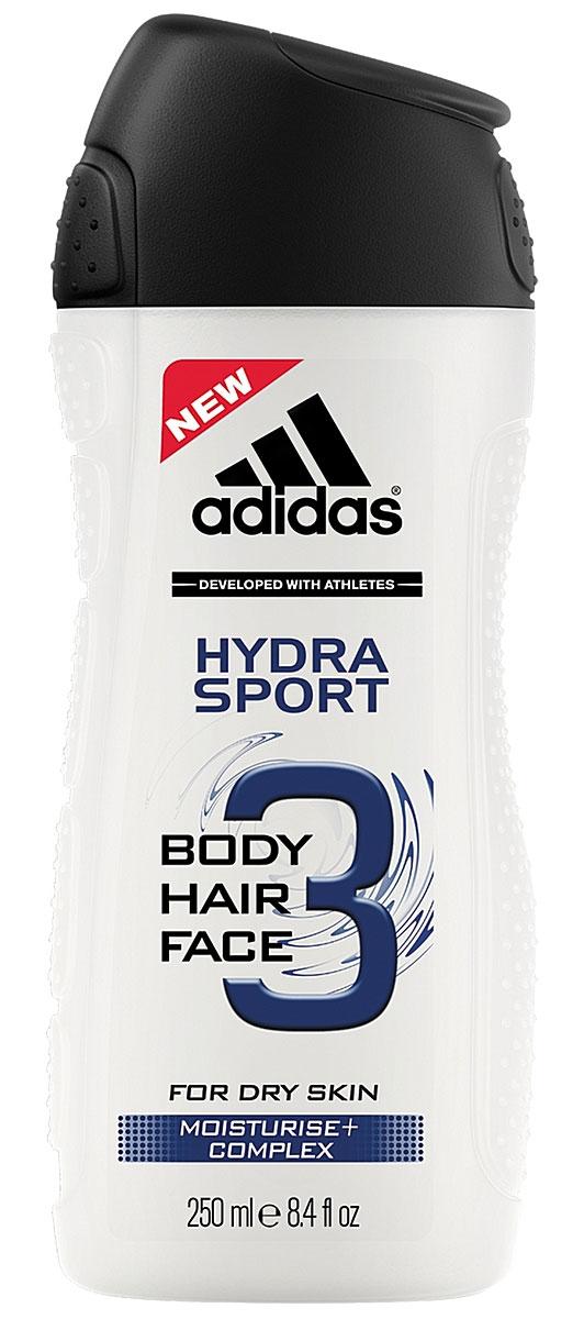 Adidas Гель для душа, шампунь и гель для умывания Body-Hair-Face Hydra Sport, мужской, 250 мл adidas body hair face active start гель для душа шампунь и гель для умывания для мужчин 250 мл