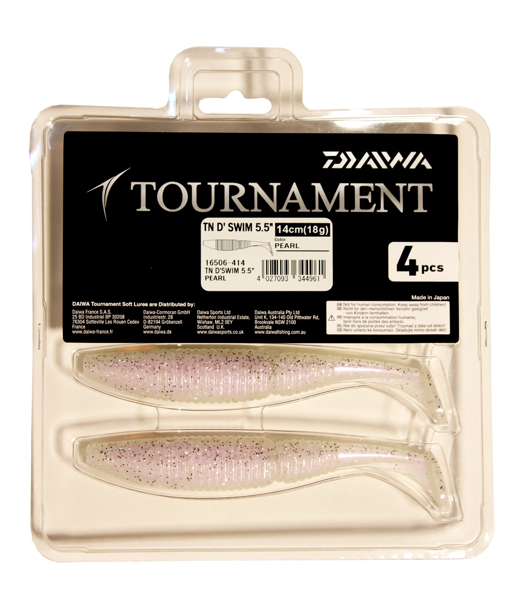 Виброхвост Daiwa TN D Swim, цвет: Pearl, 14 см, 4 шт