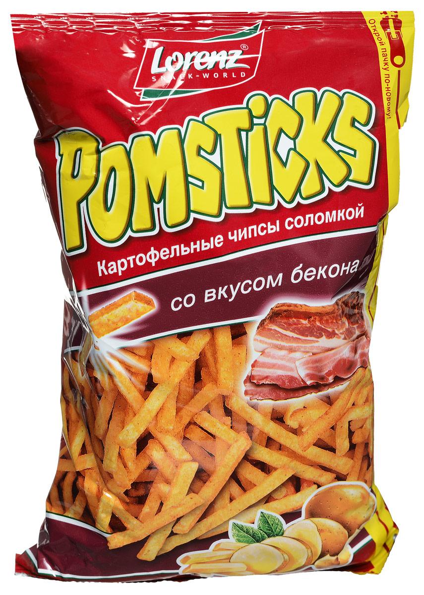 Lorenz Pomsticks картофельные чипсы со вкусом бекона, 100 г чипсы картофельные русская картошка креветки 50 г