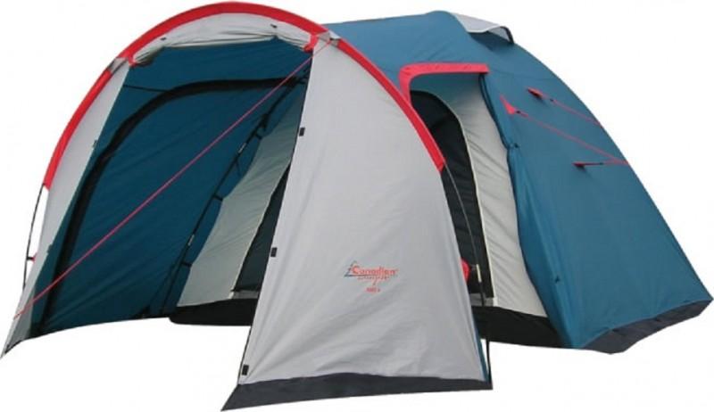Палатка Canadian Camper Rino 4, цвет: серый, синий, красный