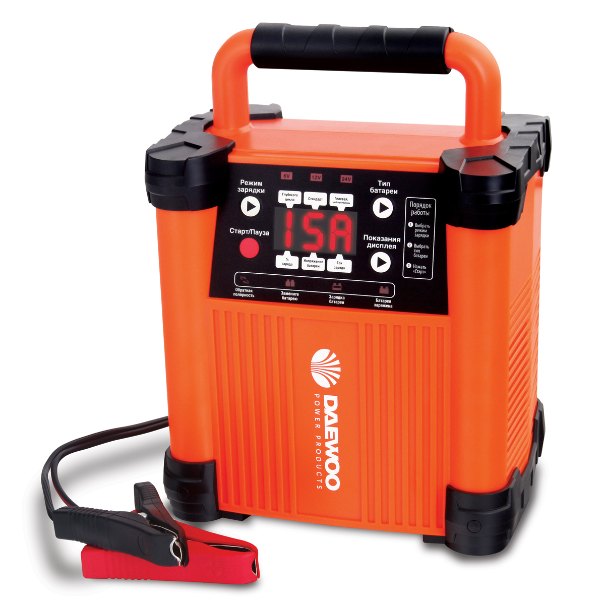 """Интеллектуальное зарядное устройство """"Daewoo"""", 6/12/24 В. DW1500"""