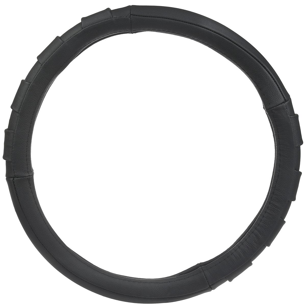 Оплетка руля Autoprofi AP-470, со вставками гармошка, цвет: черный. Размер M (38 см). AP-470 BK (M) оплетка руля autoprofi натуральная кожа размер м черная