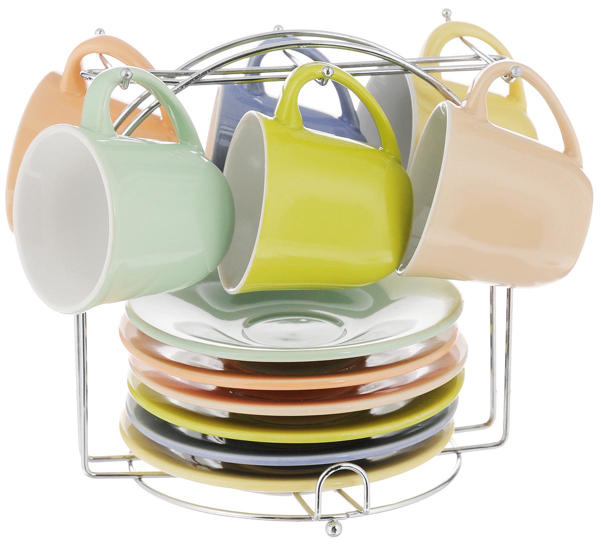 Фото - Набор кофейный Loraine, на подставке, 13 предметов. 24865 [супермаркет] jingdong геб scybe фил приблизительно круглая чашка установлена в вертикальном положении стеклянной чашки 290мла 6 z