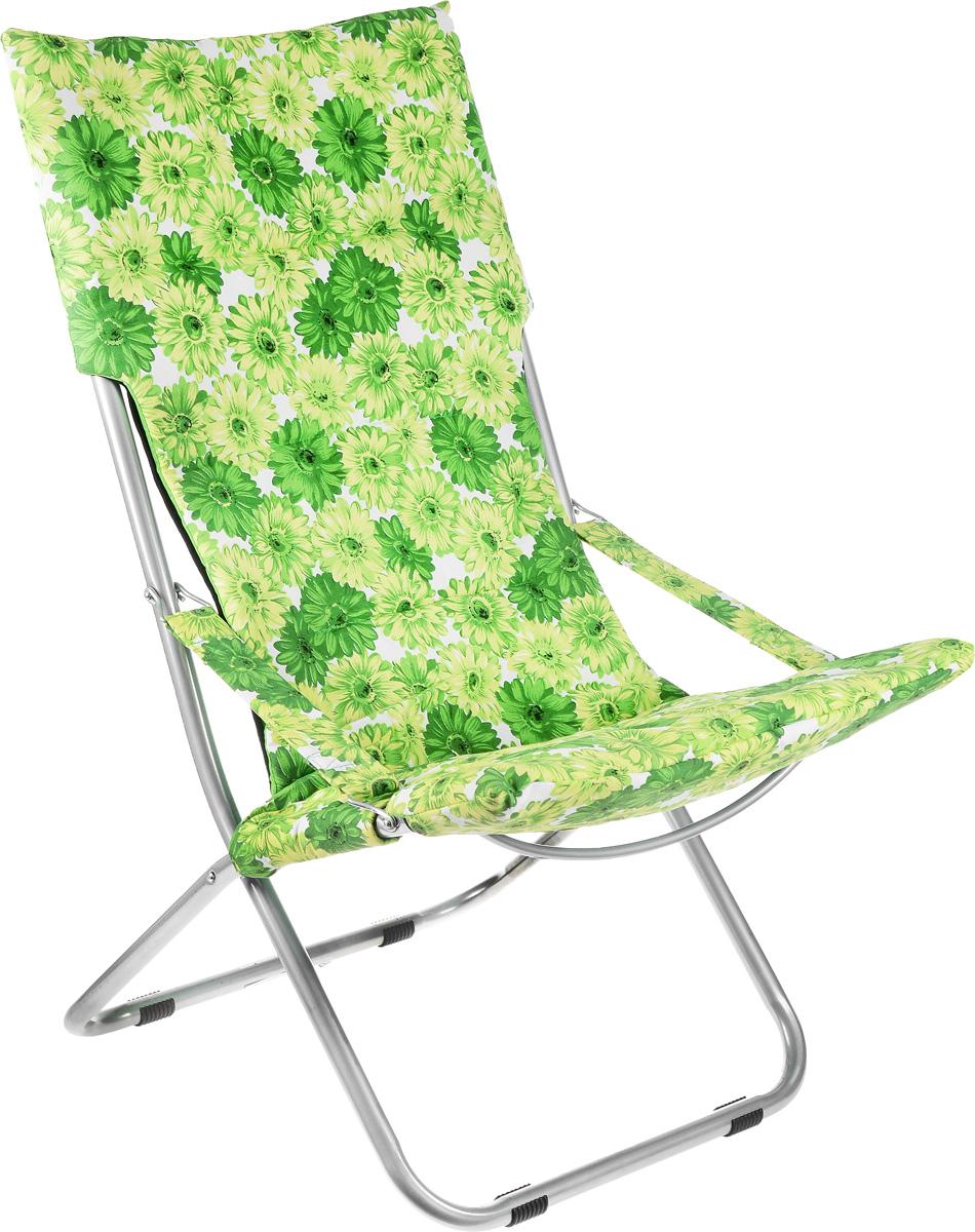 Кресло складное Wildman, цвет: зеленый, светло-зеленый, белый, 73 х 60 х 100 см81-455На складном кресле Wildman можно удобно расположиться в тени деревьев, отдохнуть в приятной прохладе летнего вечера. В использовании такое кресло достойно самых лучших похвал. Кресло выполнено из текстиля, каркас металлический. Мягкий съемный чехол с наполнителем из синтепона крепится на кресло при помощи застежек-липучек. В сложенном виде кресло удобно для хранения и переноски.