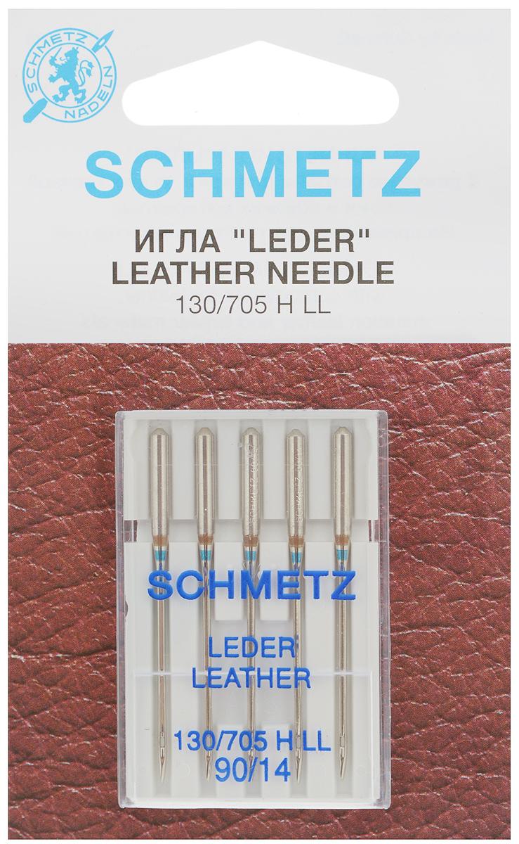 """Набор игл для кожи Schmetz """"Leder"""", №90, 5 шт"""