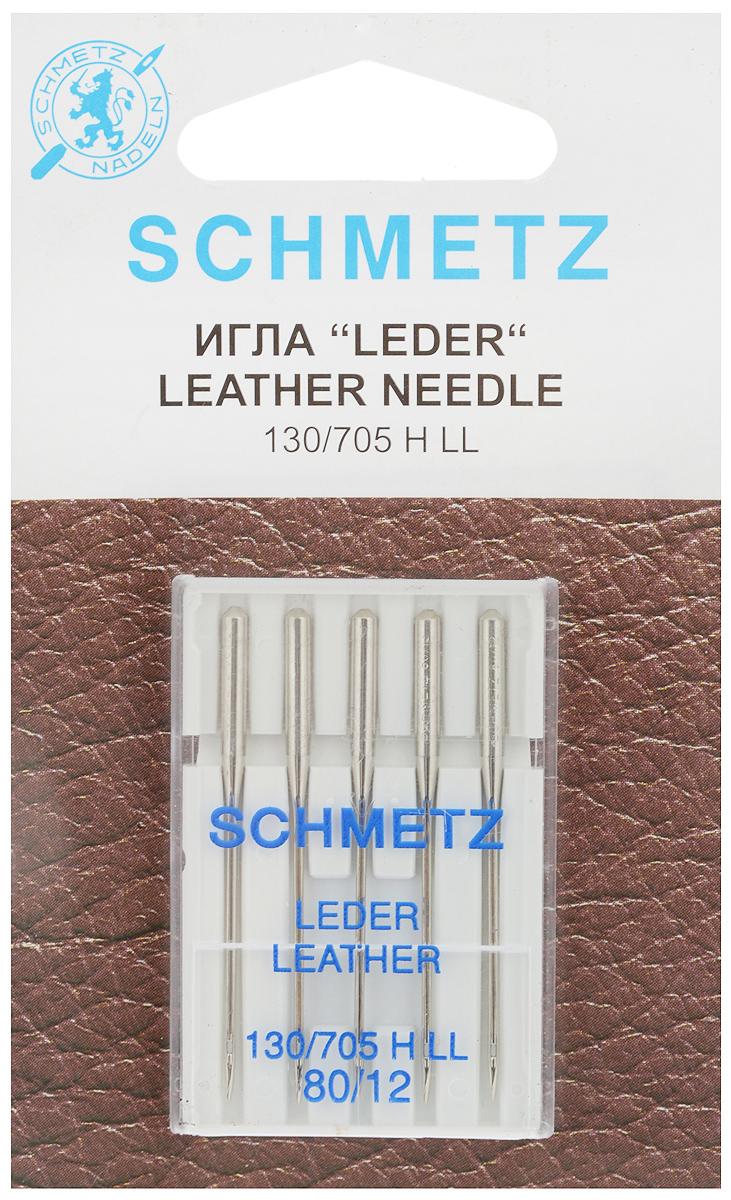 """Набор игл для кожи Schmetz """"Leder"""", №80, 5 шт"""