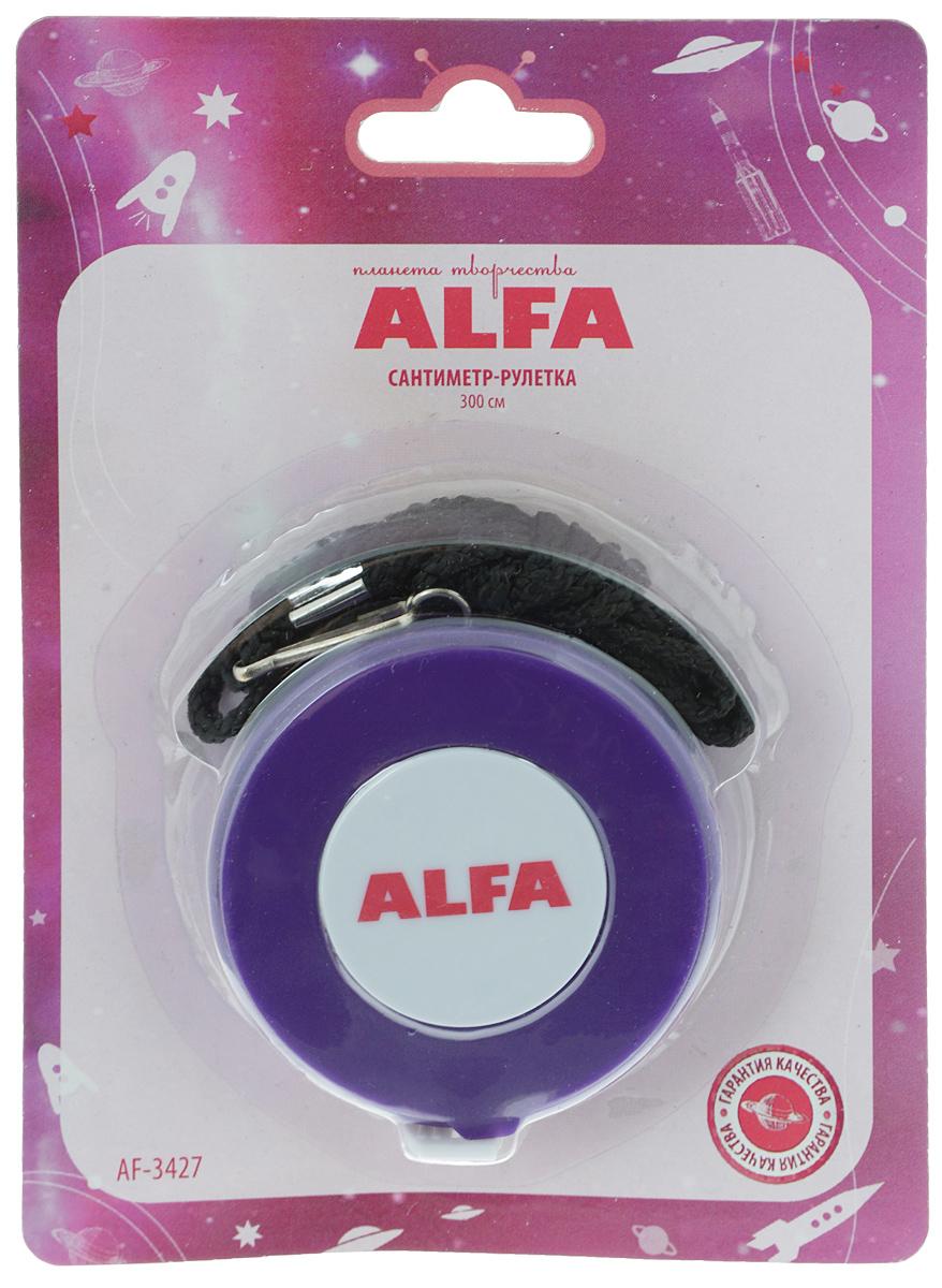 Сантиметр-рулетка Alfa, цвет: фиолетовый, 300 смAF-3427Сантиметр-рулетка Alfa в пластиковом корпусе предназначена для снятия мерок, измерения различных изделий и материалов. Сантиметровая лента выполнена из ПВХ с делением в 1 см с одной стороны и в 1 дюйм с другой. Общая длина 300 см/120 дюймов. Рулетка дополнительно снабжена отстегивающимся текстильным шнурком. Диаметр корпуса: 6 см.