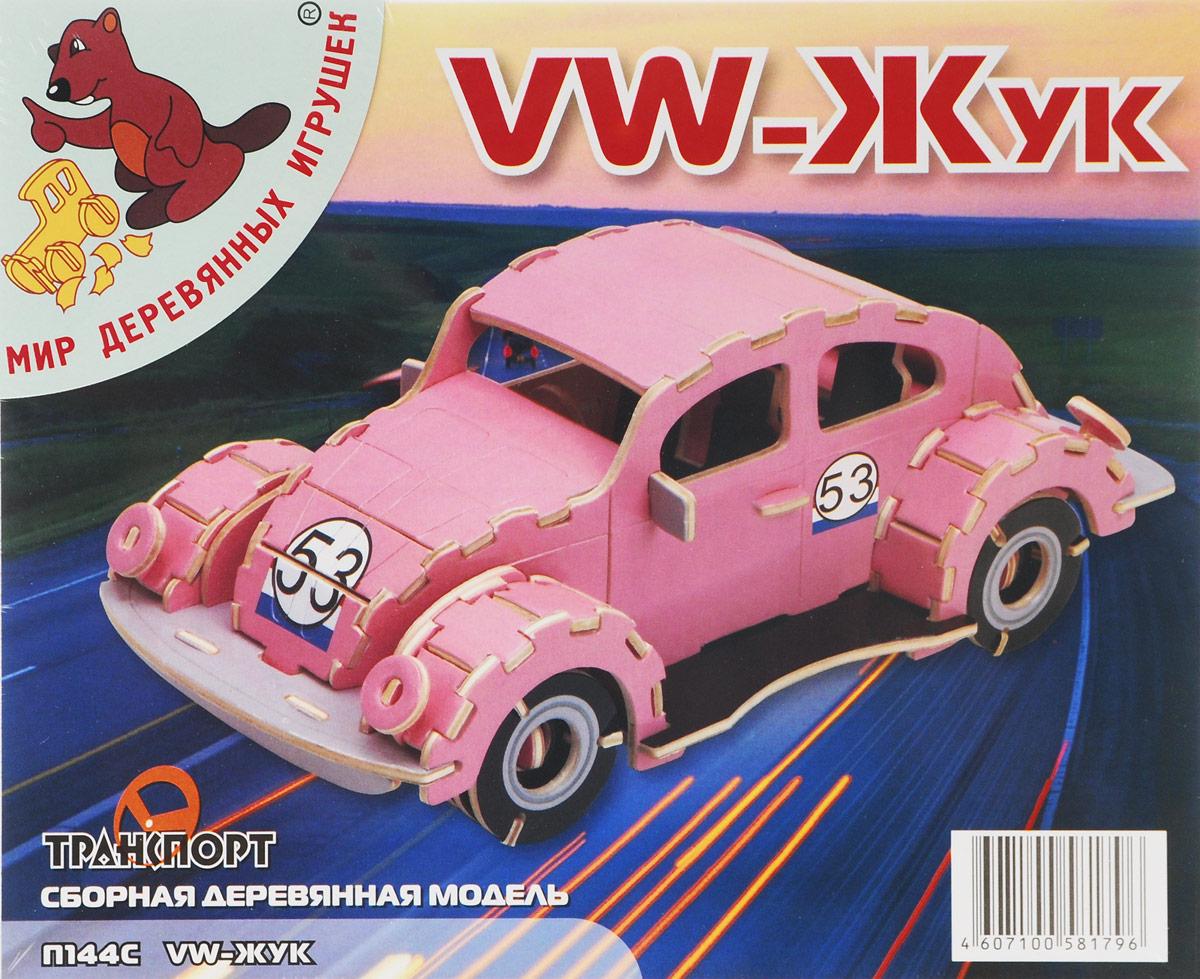 Мир деревянных игрушек Сборная деревянная модель Фольксваген Жук цвет розовый конструкторы мир деревянных игрушек мди сборная модель ванная комната