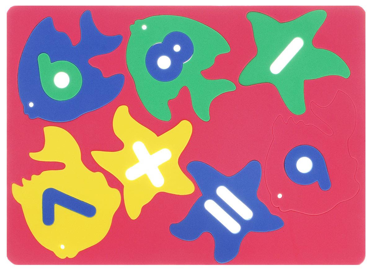 Бомик Пазл для малышей Рыбки-цифры цвет основы красный зеленый 2 шт фантазер пазл для малышей дом и дерево цвет основы оранжевый