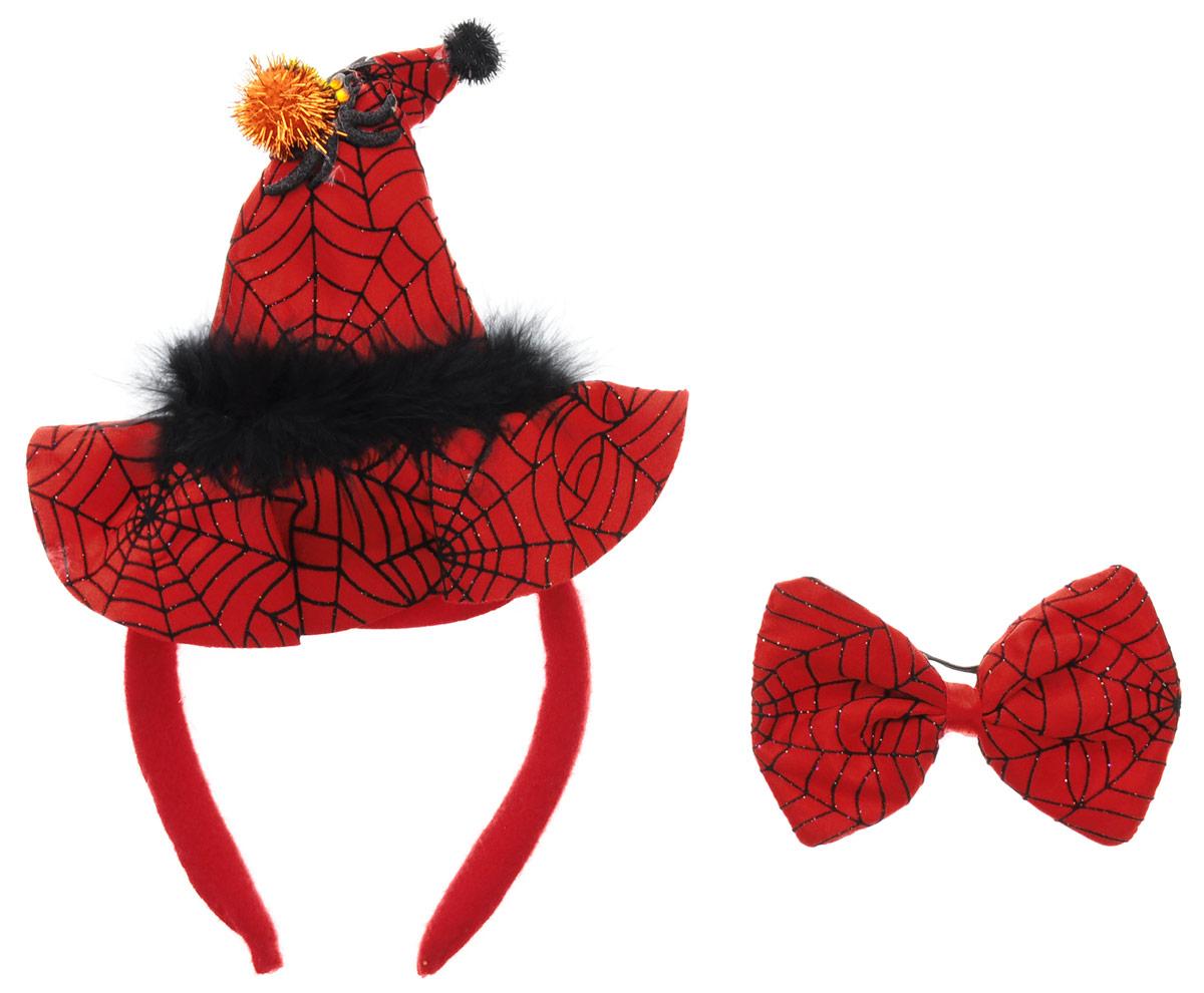 Partymania Ободок Шляпа Ведьмочки с бабочкой цвет красный черный недорго, оригинальная цена