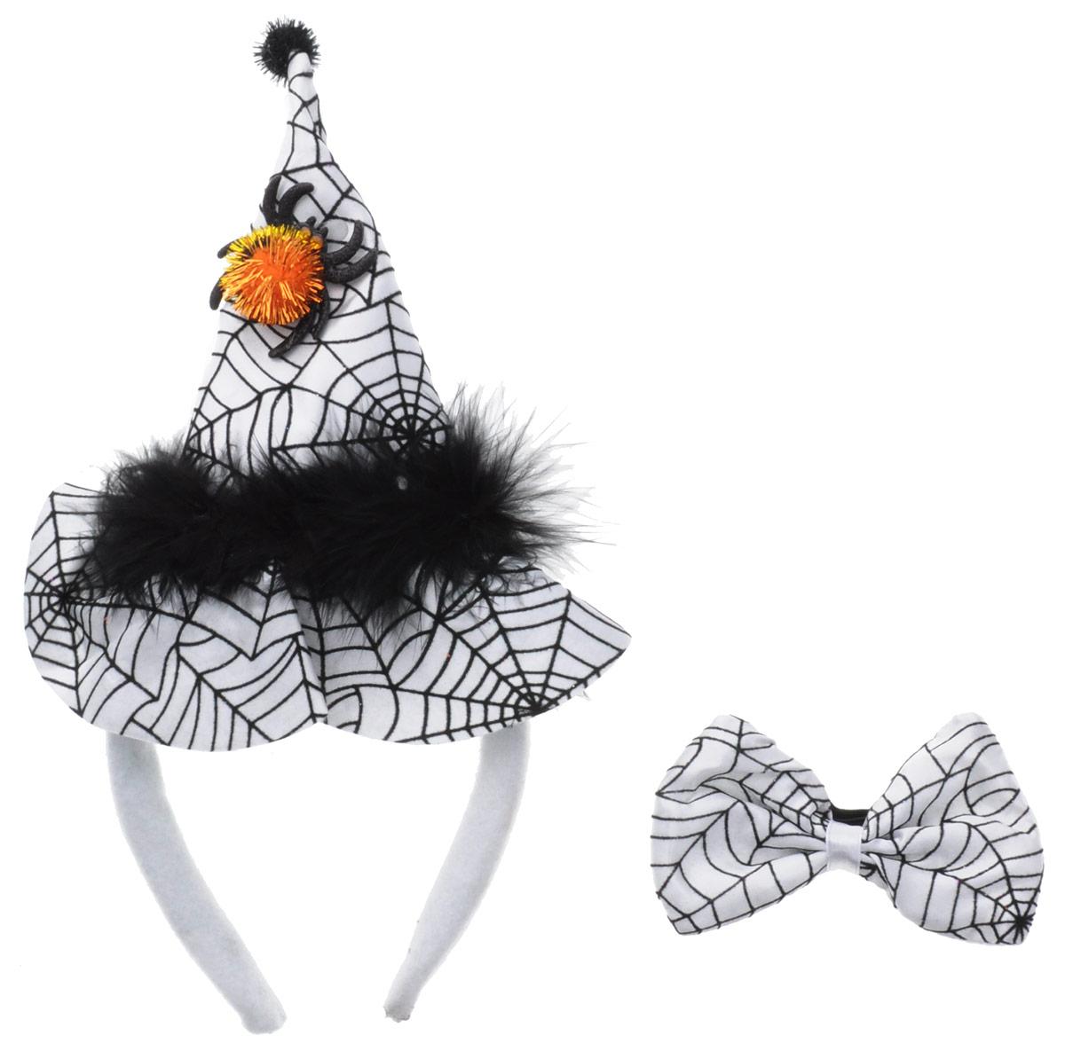 Partymania Ободок Шляпа Ведьмочки с бабочкой цвет белый черный недорго, оригинальная цена