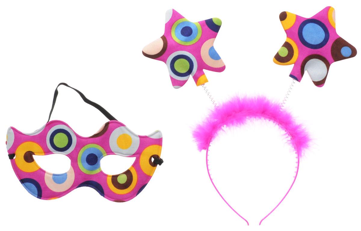 Partymania Ободок с маской карнавальной Звездочки цвет фуксия