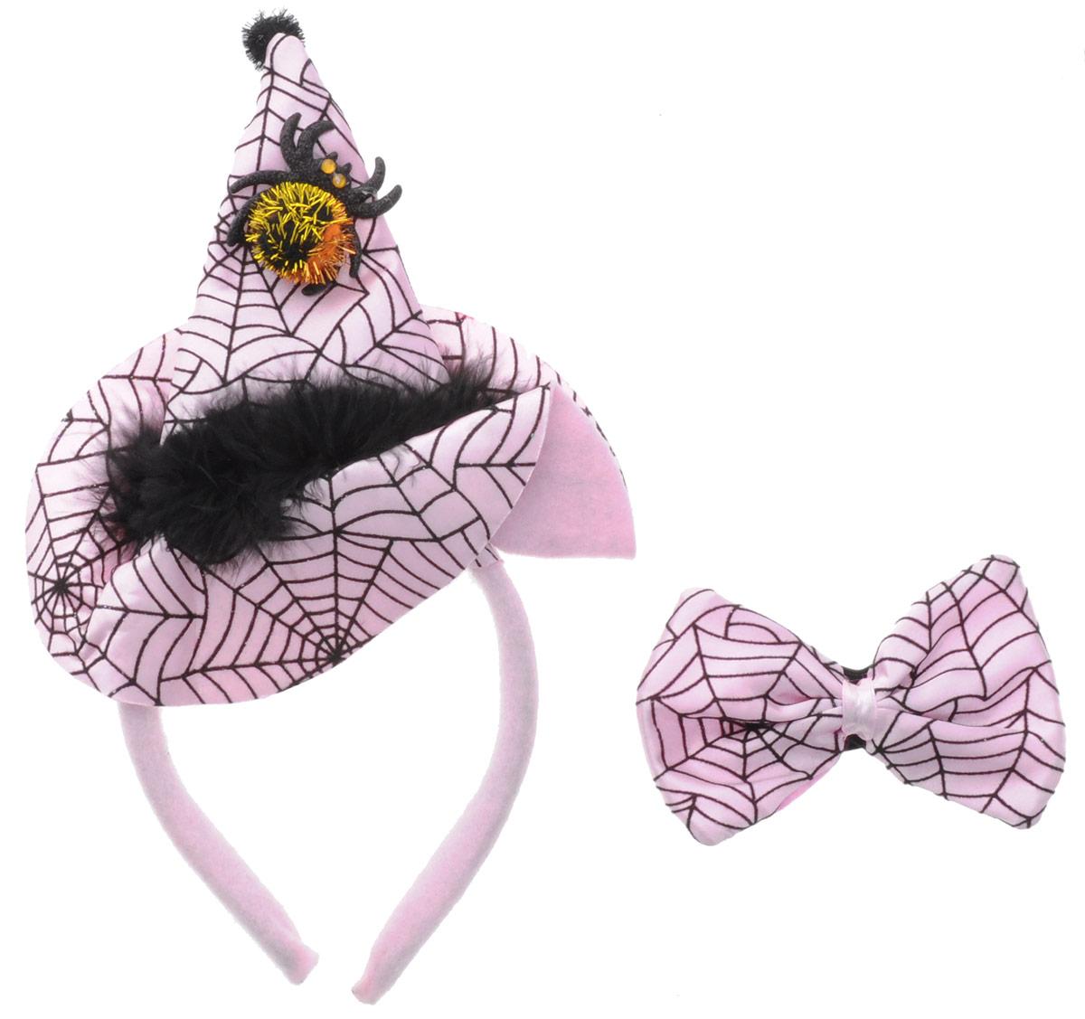 Partymania Ободок Шляпа Ведьмочки с бабочкой цвет розовый черный недорго, оригинальная цена