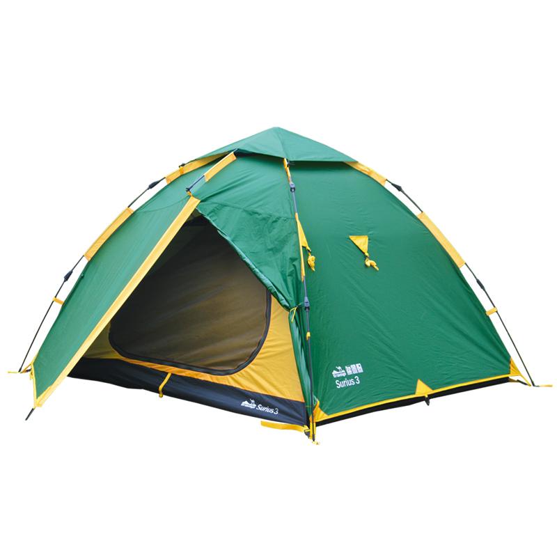 Палатка Тramp Siruis 3, цвет: зеленыйTRT-117Двухслойная палатка Тramp Siruis 3 с двумя входами устанавливается всего за одну минуту. Внешний тент палатки устойчив к ультрафиолетовому излучению и имеет пропитку, задерживающую распространение огня. Два тамбура на дуге коромысло. В куполе палатки расположено вентиляционное окно. Светоотражающие оттяжки, все швы проклеены. Палатка идеальна для автотуристов Размер спального места: 180 х 210 см. Размер тамбура: 90 + 90 см.