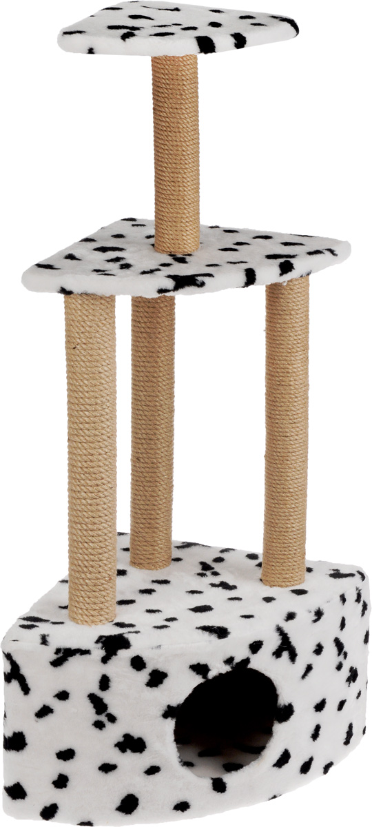 Меридиан, Домик-когтеточка Угловой 3-х ярусный, джут, рис. Далматин (белый фон, черный рисунок), 59 х 43 х 111 см домик для кошек и собак titbit с игрушкой цвет рыжий 43 см х 43 см х 40 см
