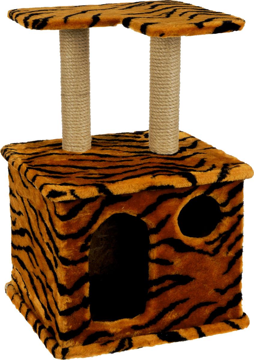 Игровой комплекс для кошек Меридиан, с фигурной полкой и домиком, цвет: оранжевый, черный, бежевый, 45 х 36 х 69 см игровой комплекс для кошек меридиан с двумя полками цвет белый черный бежевый 68 х 39 х 104 см