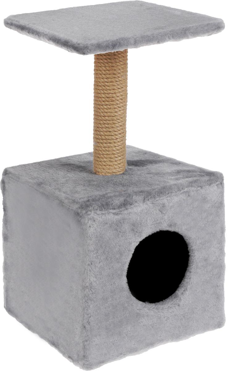 Игровой комплекс для кошек Меридиан, с полкой и домиком, цвет: светло-серый, бежевый, 32 х 32 х 63 см игровой комплекс для кошек меридиан с фигурной полкой и домиком цвет светло серый бежевый 45 х 36 х 69 см