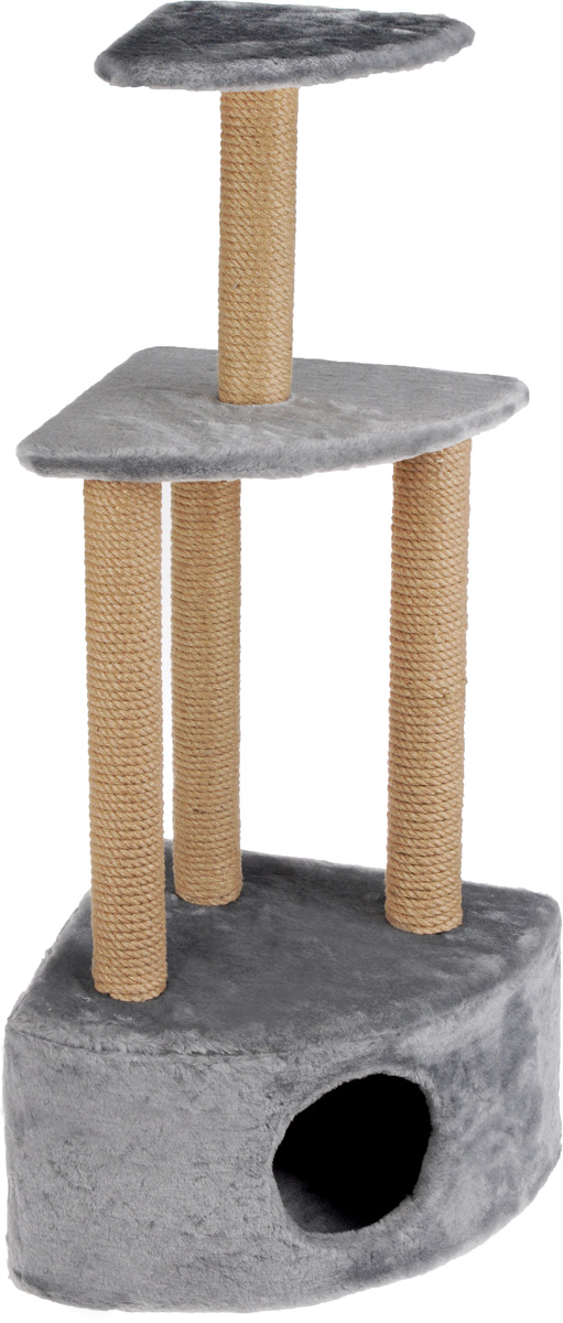 Меридиан, Домик-когтеточка Угловой 3-х ярусный, джут, рис. Светло-серый, 59 х 43 х 111 см домик для кошек и собак titbit с игрушкой цвет рыжий 43 см х 43 см х 40 см