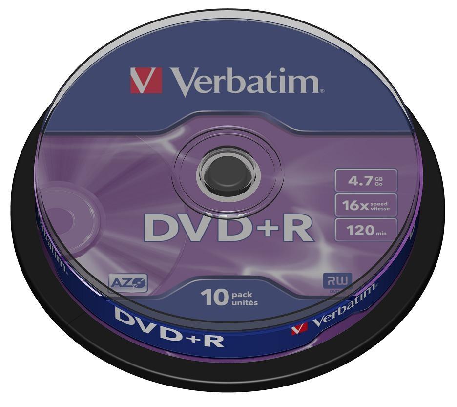 Диск DVD+R Verbatim 4.7Gb 16x Cake Box (10 шт) диск blu ray verbatim bd re 2x 25 gb 10 шт cake box 43694