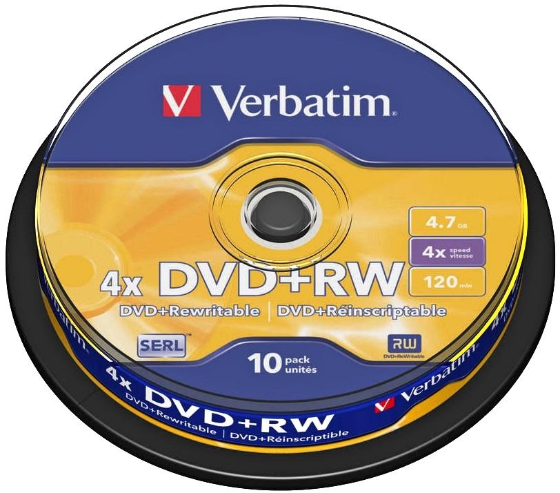 Диск DVD+RW Verbatim 4.7Gb 4x Cake Box (10 шт) диск dvd rw verbatim 4 7gb 43229 4x datalife jewel case