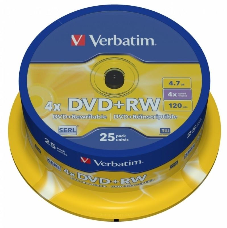 Диск DVD+RW Verbatim 4.7Gb 4x Cake Box (25 шт) цены