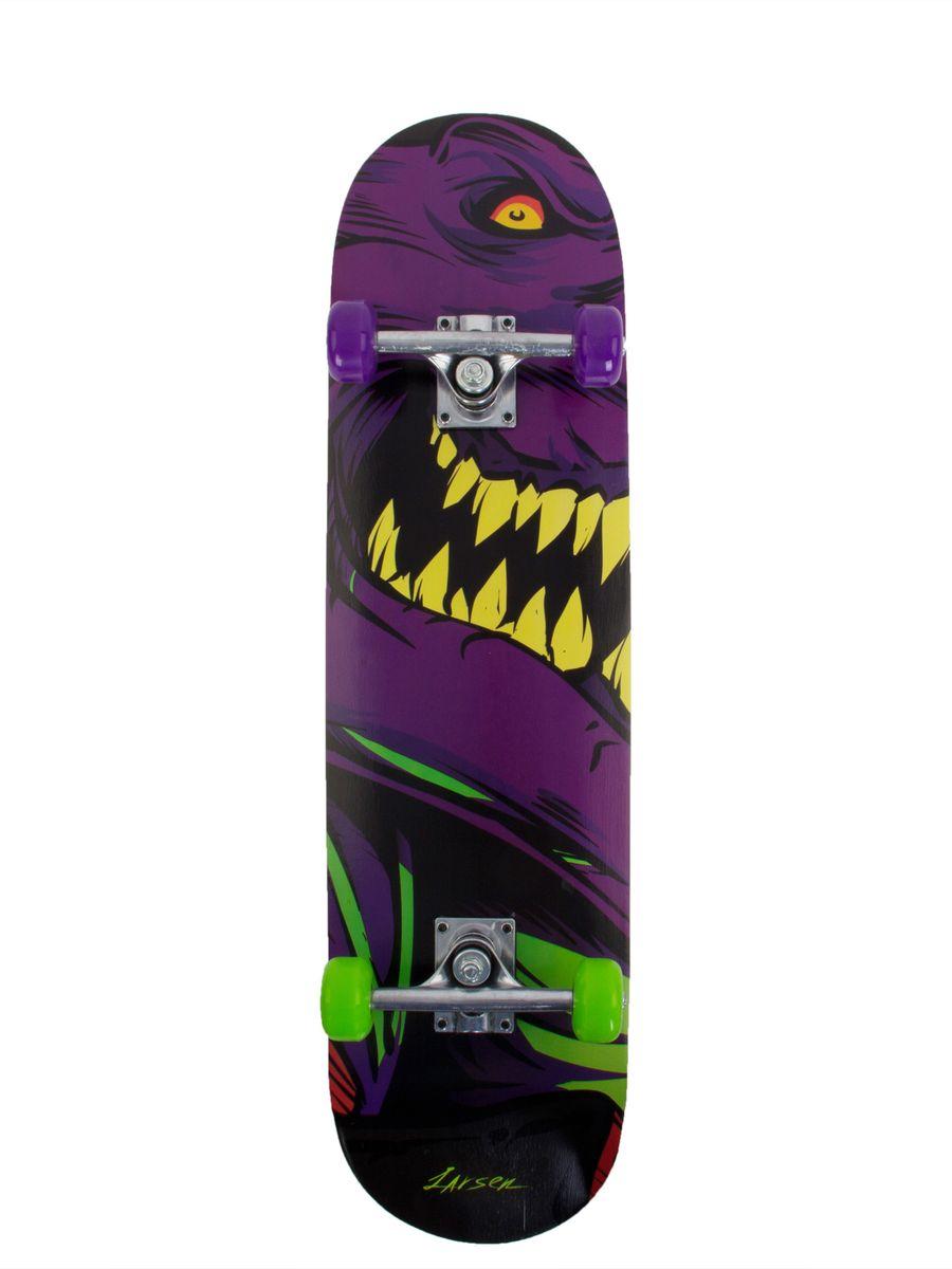 Скейтборд Larsen Street 1, цвет: фиолетовый, салатовый, черный, дека 79 см х 20 см скейтборд immortal 31 х8 abec 3