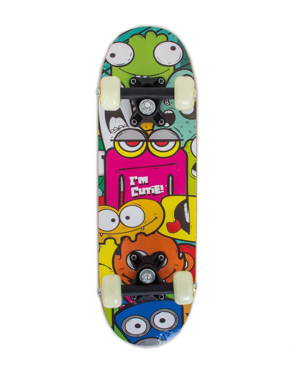 "Скейтборд Larsen ""Kids 1"", 51 х 15 см, цвет: зеленый, желтый, синий"