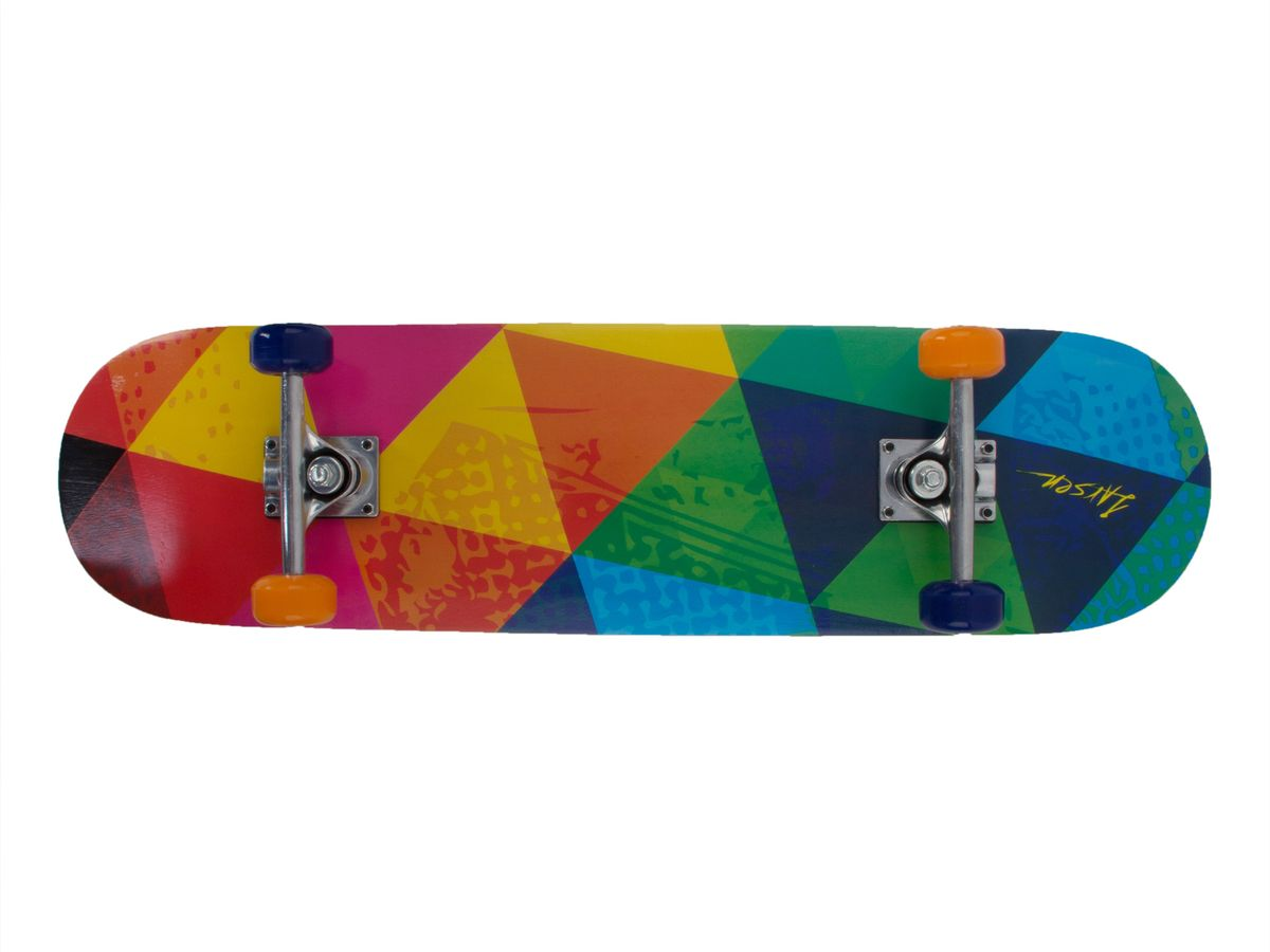 Скейтборд Larsen Street 2, цвет: желтый, красный, зеленый, синий, дека 79 см х 20 см скейтборд larsen street 3