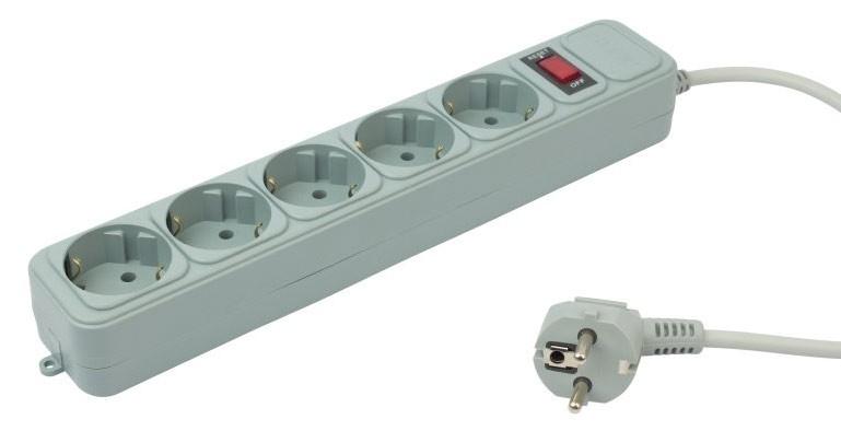 Сетевой фильтр PC Pet AP01006-3-GR (5 розеток), Grey