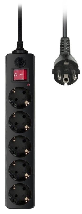Сетевой фильтр Buro 500SH-3-B (5 розеток), Black сетевой фильтр buro 500sh 1 8 b 5 розеток black