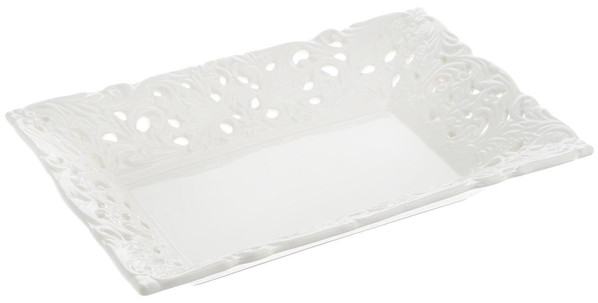 Конфетница Loraine Ажур, цвет: белый, 24 х 16 см конфетница lefard голден 18х10 5х14см на ножке стекло