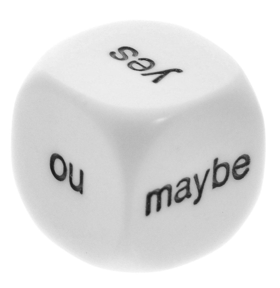 """Игральные кости Pandoras Box Studio 02KG22402KG224Игральные кости, как метод предсказания, всегда ценились за свою простоту и доступность. Наиболее простая система строится на основе вопросов и ответов. Кубик для гадания на решения Pandora's Box """"Да. Нет. Может быть"""" дает такую возможность. На сторонах кубика написаны три слова: """"Yes"""", """"No"""", """"Maybe"""". Благодаря точной кубической форме выпадение каждого слова равновероятно, и только случай (или судьба) определит ответ на ваш вопрос."""