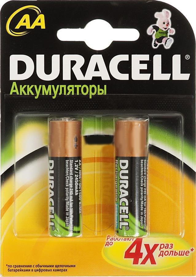 Аккумулятор Duracell HR6-2BL AA NiMH 2400 мАч, 2 шт аккумулятор duracell hr6 2bl aa nimh 2400 мач 2 шт