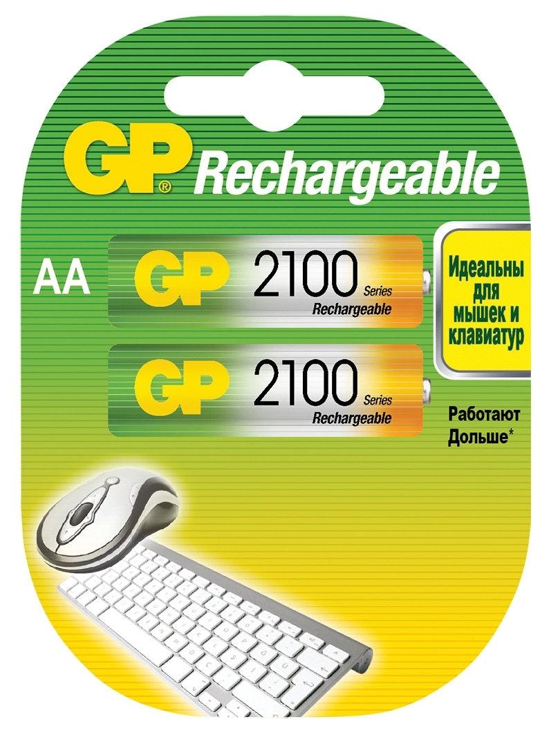 Аккумулятор GP 210AAHC AA NiMH 2100 мАч, 2 шт аккумулятор gp smart energy 100aahcsv aa nimh 1000mah 2 шт