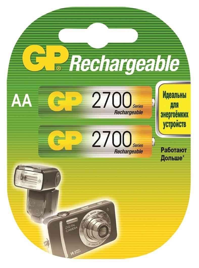 Аккумулятор GP 270AAHC AA NiMH 2700 мАч, 2 шт аккумулятор gp smart energy 100aahcsv aa nimh 1000mah 2 шт