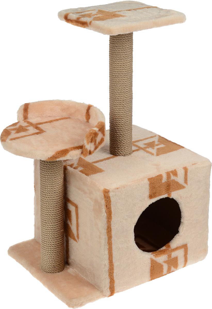 Игровой комплекс для кошек Меридиан, с домиком и когтеточкой, цвет: коричневый, бежевый, 35 х 45 х 75 см лоток для кошек vanness с аксессуарами цвет голубой бежевый 48 см х 38 см х 19 см