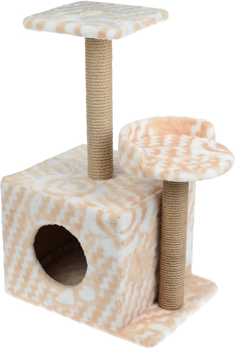 Игровой комплекс для кошек Меридиан, с домиком и когтеточкой, цвет: бежевый, белый, 35 х 45 х 75 см игровой комплекс для кошек меридиан с фигурной полкой и домиком цвет светло серый бежевый 45 х 36 х 69 см