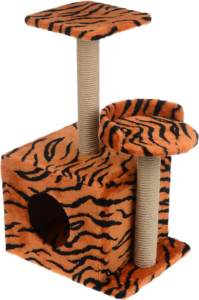 Меридиан, Домик-когтеточка Квадратный трехэтажный, рис. Тигр (красный фон, черный рисунок), 35 х 45 х 75 см лежак для кошек меридиан ботинок 61 х 38 х 33 см