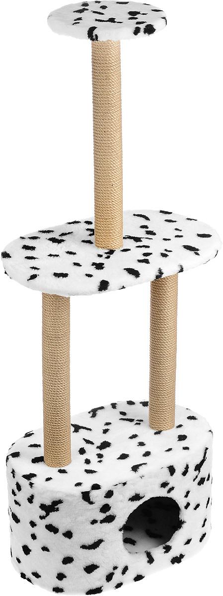 Игровой комплекс для кошек Меридиан, 3-ярусный, с домиком и когтеточкой, цвет: белый, черный, бежевый, 51 х 33 х 131 см игровой комплекс для кошек меридиан с фигурной полкой и домиком цвет светло серый бежевый 45 х 36 х 69 см