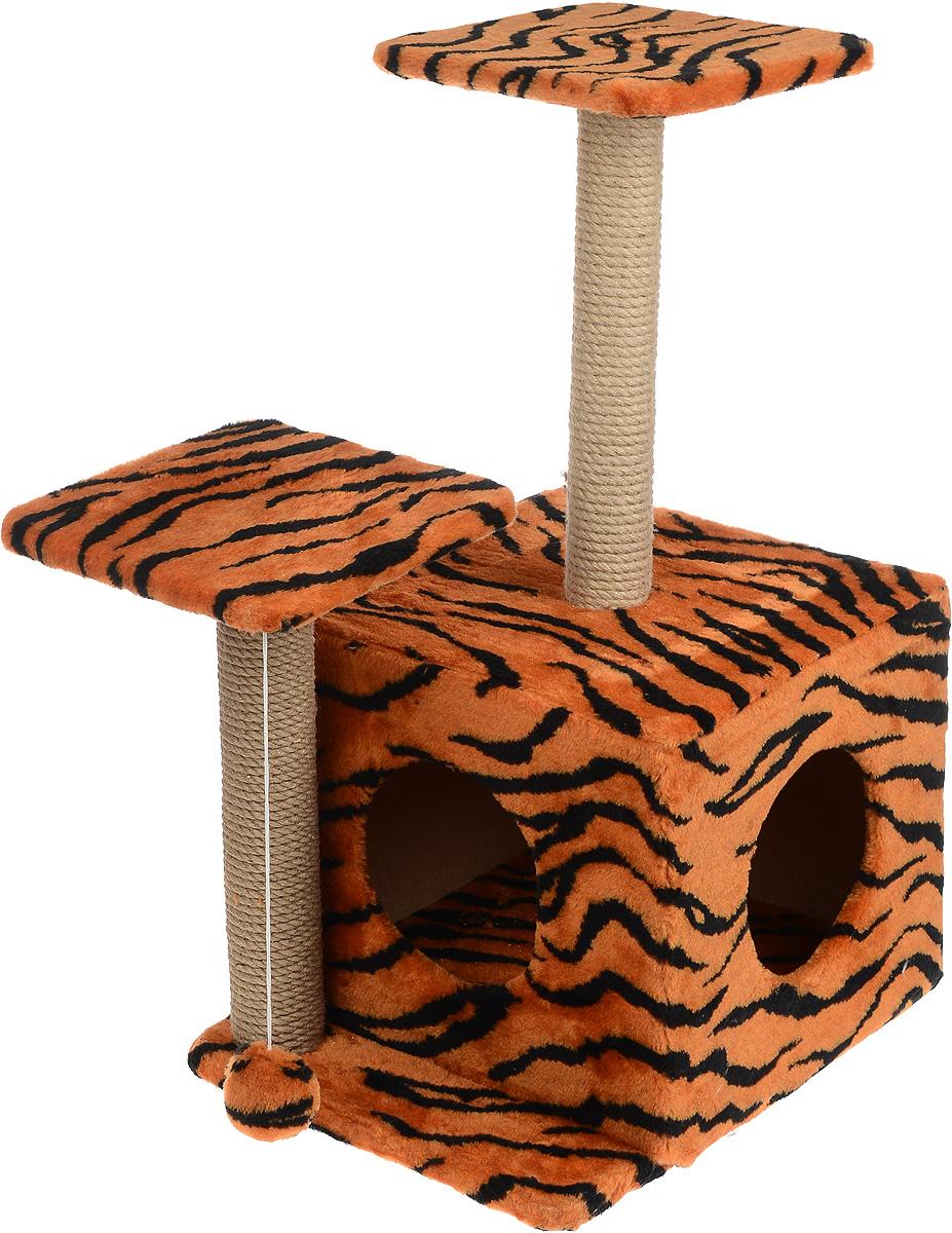 Меридиан, Домик-когтеточка Квадратный трехэтажный с двумя окошками, рис. Тигр (красный фон, черный рисунок), 45 х 47 х 75 см домик когтеточка меридиан квадратный трехэтажный с двумя окошками цвет светло коричневый 45 х 47 х 75 см